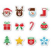 Christmas colorful icons set - Santa, present, tree, Rudolf — Stock Vector
