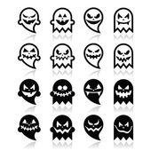 Halloween scary ghost vector black icons set — Stockvektor