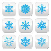 Snowflakes, winter blue vector buttons set — Vecteur