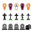 Halloween, graveyard colorful icons set - coffin, cross, grave — Stock Vector #53653369