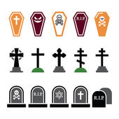 Halloween, graveyard colorful icons set - coffin, cross, grave — Stock Vector