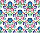 Seamless Polish, Slavic folk art floral pattern - wzory lowickie, wycinanka — Stock Vector