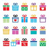 Present, gift box colorful vector icons set — Vecteur
