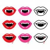 Vampire mouth, vampire teeth vector icons set — Stock Vector