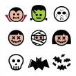 Halloween characters - Dracula, monster, mummy icons — Stock Vector #53914109
