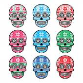 Mexican sugar skull with winter Nordic pattern — Stock Vector