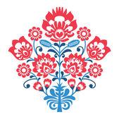 Polish Folk art pattern with flowers - wzory lowickie, wycinanka — Stock Vector