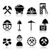 Coal mine, miner icons set — Stock Vector