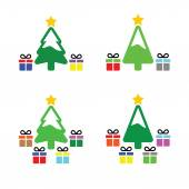 Christmas tree with present icons set — Stock Vector