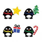 Set di icone vettoriali simpatico pinguino di natale — Vettoriale Stock