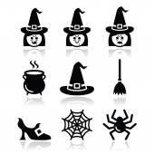 Witch Halloween vector icons set — Stock vektor