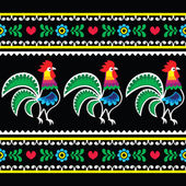 Polish folk art pattern with roosters on black - Wzory lowickie, Wycinanka — Stock Vector