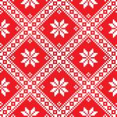 Seamless Ukrainian Slavic folk art red embroidery pattern — ストックベクタ