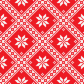 Seamless Ukrainian Slavic folk art red embroidery pattern — Stock Vector
