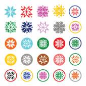 Colorful pixelated snowflakes, Christmas icons — Stock Vector