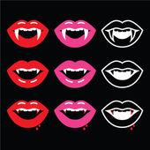 Vampire mouth, vampire teeth icons on black — Stock Vector