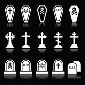 Halloween, graveyard icons set - coffin, cross, grave on black — Stock Vector