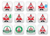 Santa Claus icons, Merry Christmas buttons — Stok Vektör