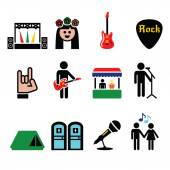 Music festival, live concert vector icons set — Stock Vector