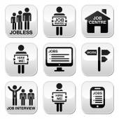 Unemployment, job searches vector buttons set — Stockvektor