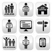 Unemployment, job searches vector buttons set — Vettoriale Stock