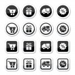 Shopping on internet black icons set with shadow — Stock Vector #54886785