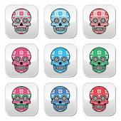 Mexican sugar skull buttons with winter Nordic pattern — Stock Vector