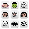 Halloween characters - Dracula, monster, mummy buttons — Stock Vector #54903215