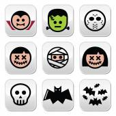 Halloween characters - Dracula, monster, mummy buttons — Stock Vector