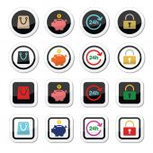 Shopping icons set - account, save, 24h, shopping bag — Stockvector