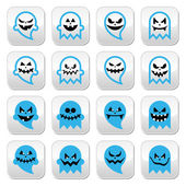Halloween scary ghost, spirit vector buttons set — Vettoriale Stock