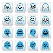 Halloween scary ghost, spirit vector buttons set — Stock vektor