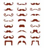 Brown moustache or mustache vector icons set — Stock Vector