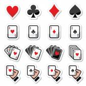 Playing cards, poker, gambling icons set — Stock Vector