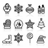 脑卒中-圣诞树、 天使、 雪花的圣诞节图标 — 图库矢量图片