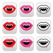 Vampire mouth, vampire teeth vector buttons set — Stockvector  #55506135