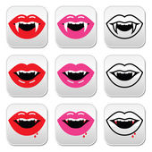 Vampire mouth, vampire teeth vector buttons set — Stock Vector