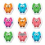 Owl cartoon vector icons set — Stock Vector #55580965