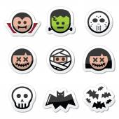 Halloween characters - Dracula, monster, mummy icons — Stock Vector