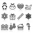 Christmas, winter icons with stroke - penguin, Christmas pudding — Stock Vector #55700509