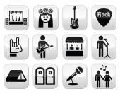 Music festival, live concert vector buttons set — Stock Vector