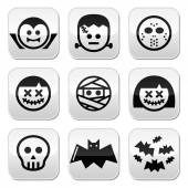 Halloween characters - Dracula, Frankenstein, mummy buttons — Stock Vector