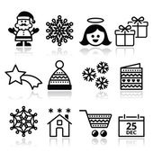 Christmas, Xmas celebrate icons set — ストックベクタ