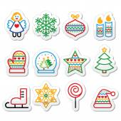 Christmas icons with stroke - Xmas tree, angel, snowflake — Wektor stockowy