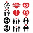 Gay or lesbian Couple breakup, divorce vector icons set — Stock Vector #56526453