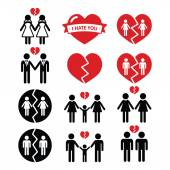 Gay or lesbian Couple breakup, divorce vector icons set — Stock Vector