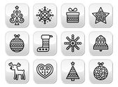 Christmas buttons with stroke - Xmas tree, present, reindeer — 图库矢量图片