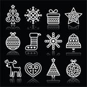 Christmas white icons with stroke on black — Stock Vector