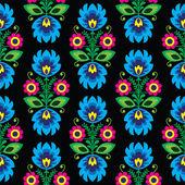 Seamless traditional floral Polish folk art pattern on black — Stok Vektör