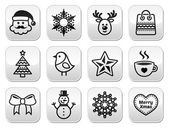 Christmas, winter buttons set - Santa Claus, snowman — Stockvektor